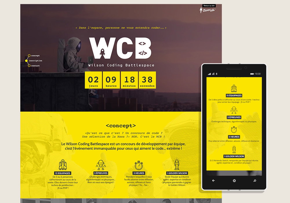 Webdesign responsive interface site Internet onepage événementiel WCB Eleven Labs
