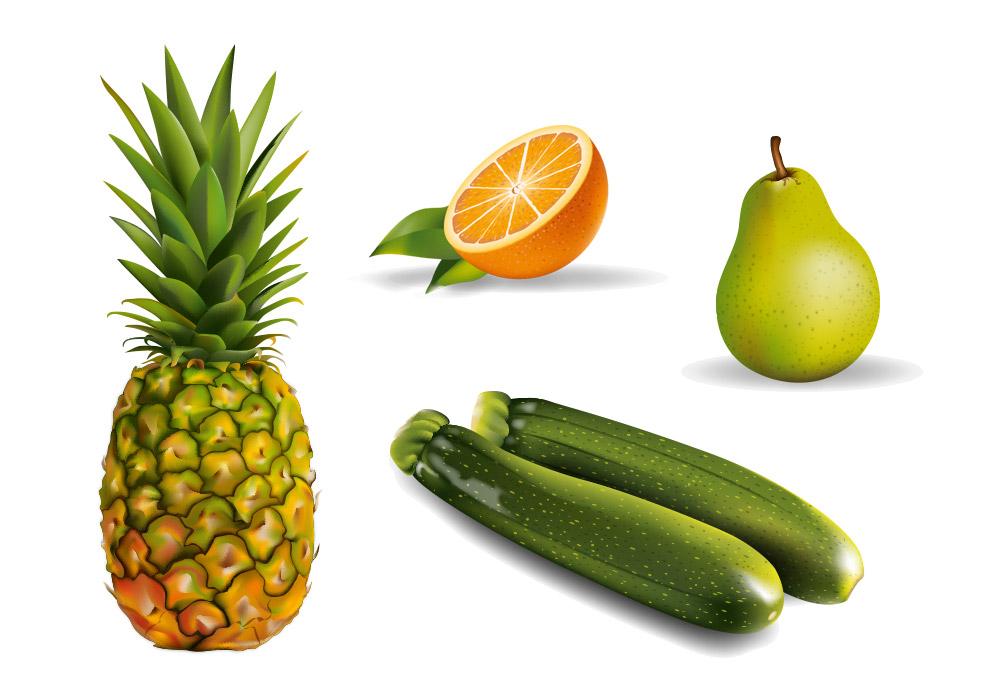 illustration vectorielle fruits et légumes Nutrimilk