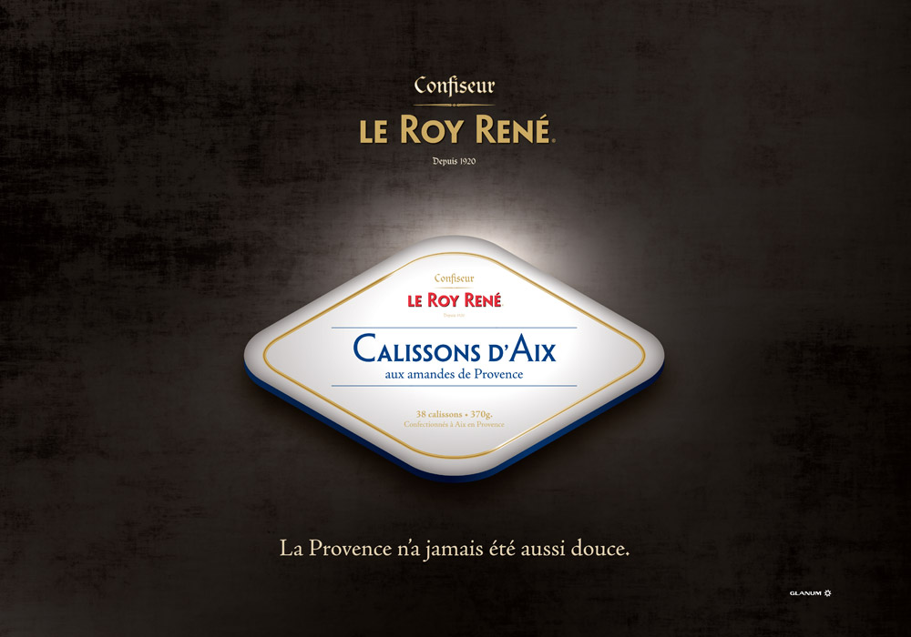 Affiche packaging boîte losange calisson Roy René