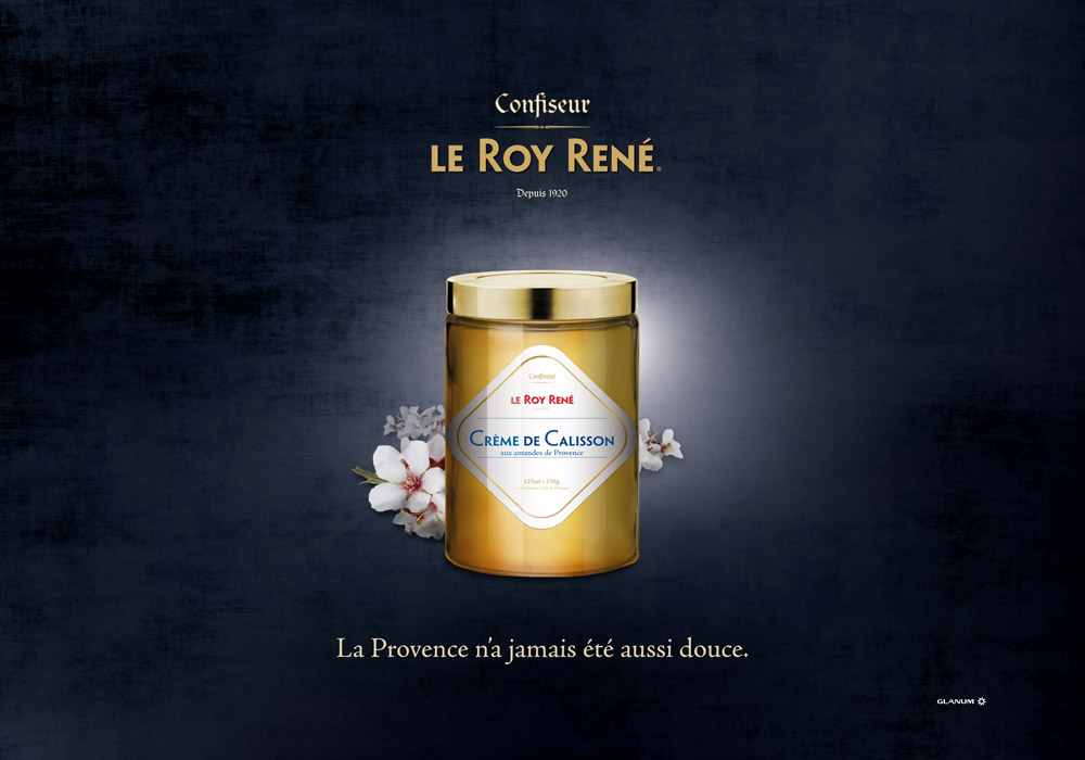 Affiche packaging crème calisson Roy René