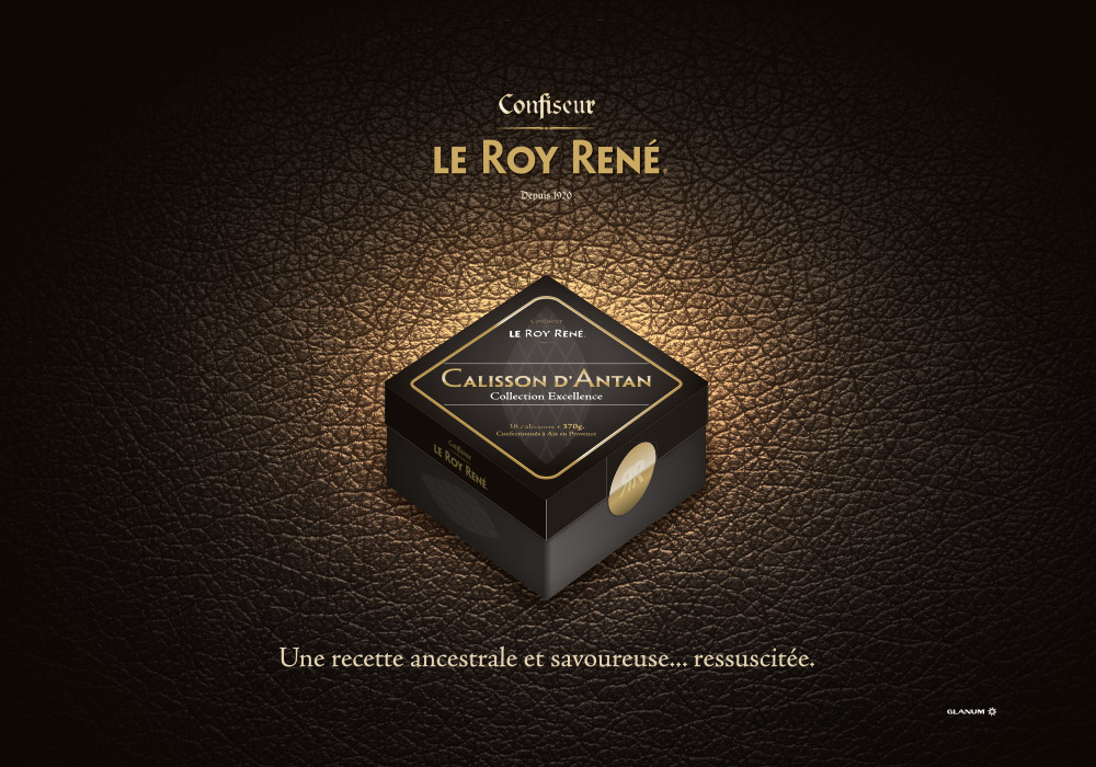 Affiche packaging boîte calisson Roy René