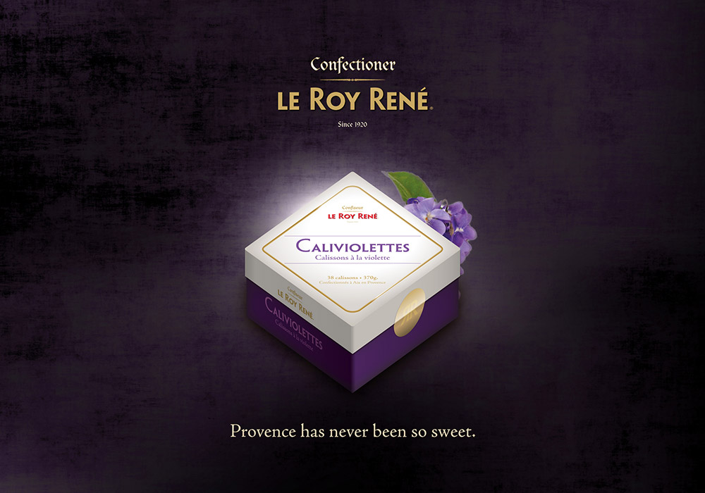 Affiche packaging boîte calisson violette Roy René