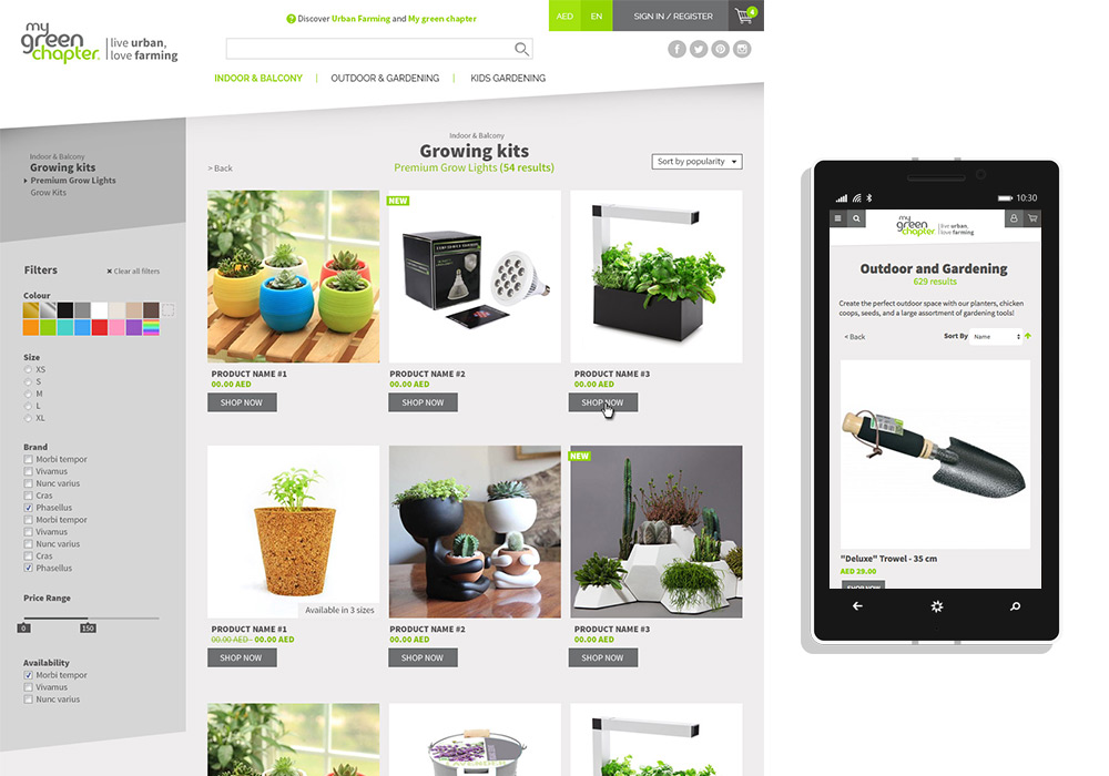 e-commerce responsive My Green Chapter