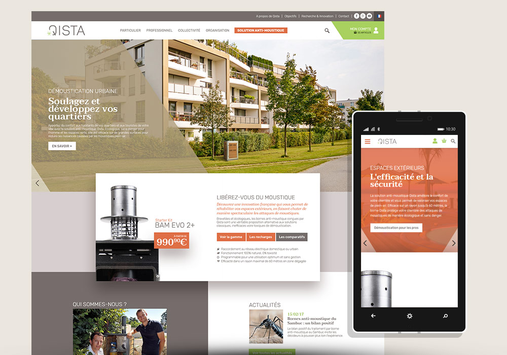 Webdesign interface responsive accueil du site e-commerce Qista