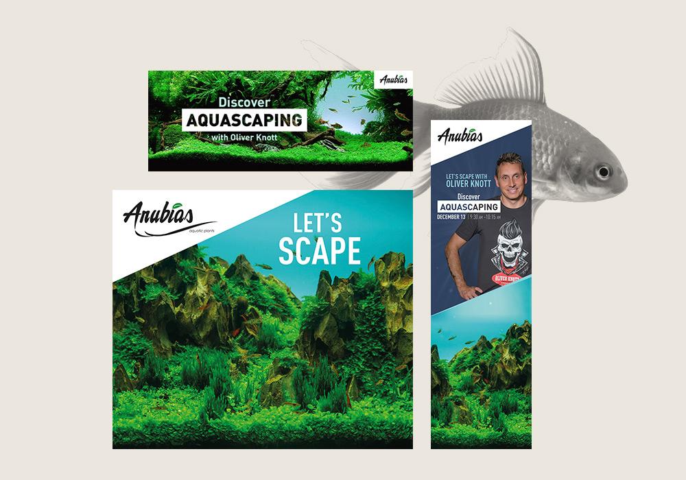 kakemono et visuels réseaux sociaux pour concours Aquascaping Saint Vincent Group SVG
